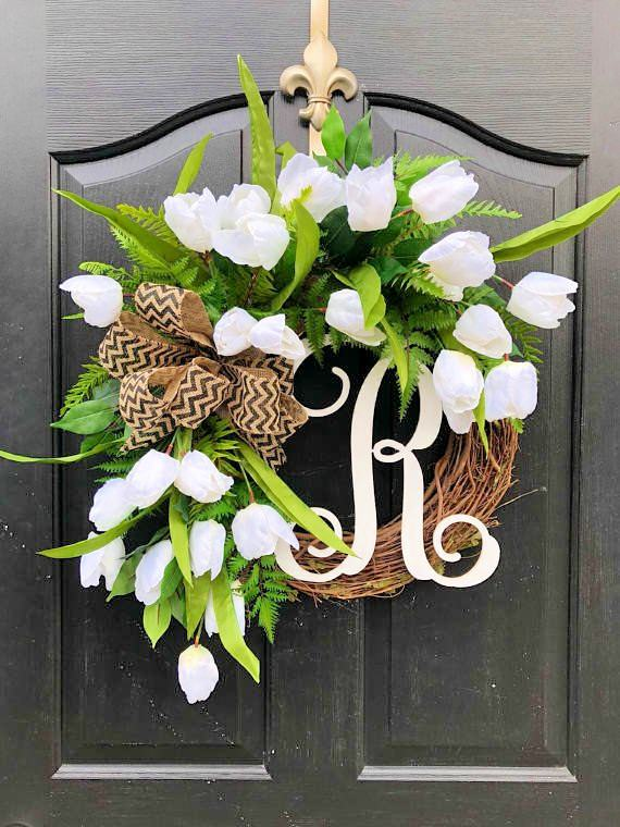 white tulips wreath