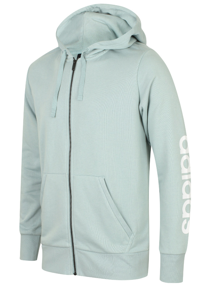 Details about adidas Mens Essentials Linear French Terry Cotton Full Zip Hoodie Hoody Hood Top