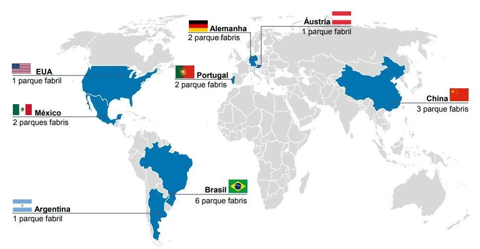 Mapa parques fabris WEG